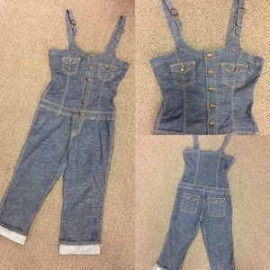 Pants - ** SALE** Capri Cropped Lightweight Denim Overalls